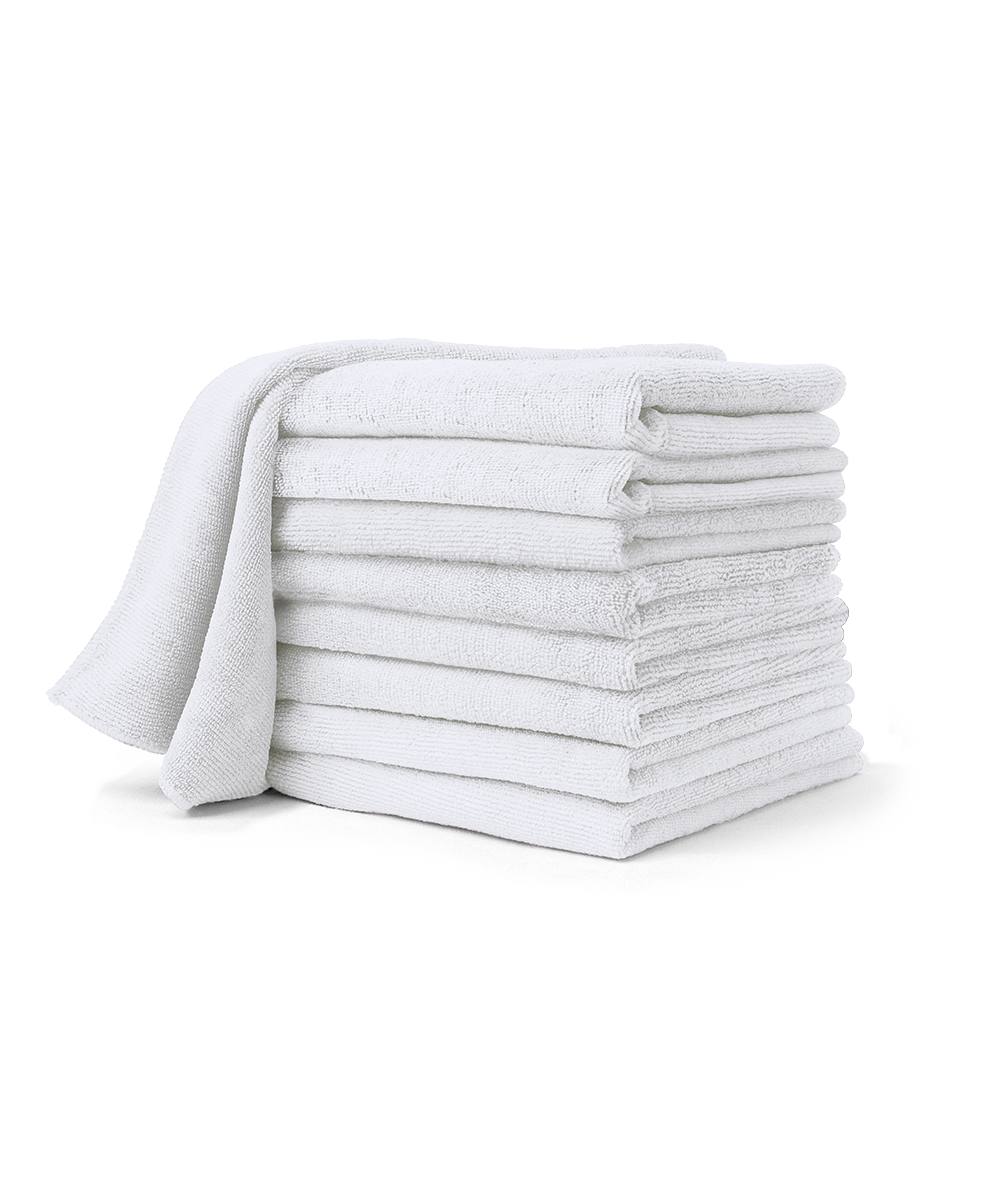 "Multi-Purpose Microfiber Cleaning Towels  16"" x 16"" in many different colors as shown in the UniFirst Facility Services catalog."