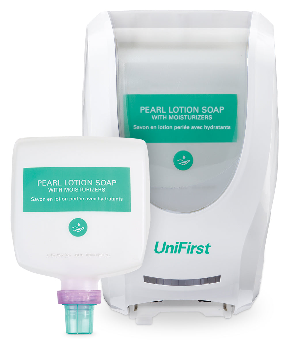 UniFirst Pearl Lotion Hand Soap (1000 mL) and Neptune Touchless Dispenser in White as shown in the UniFirst Facility Services Catalog.