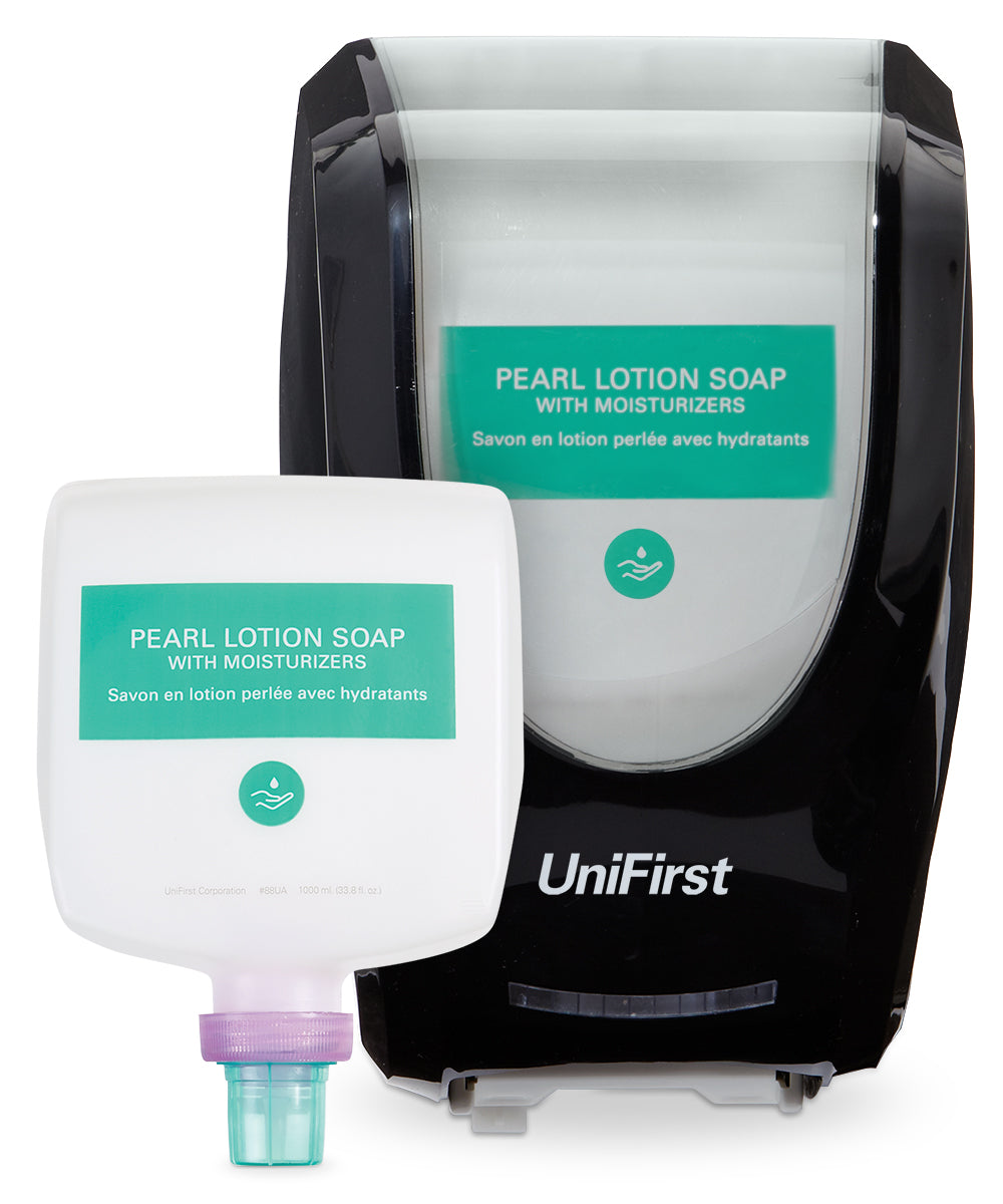 UniFirst Pearl Lotion Hand Soap (1000 mL) and Neptune Touchless Dispenser in Black as shown in the UniFirst Facility Services Catalog.