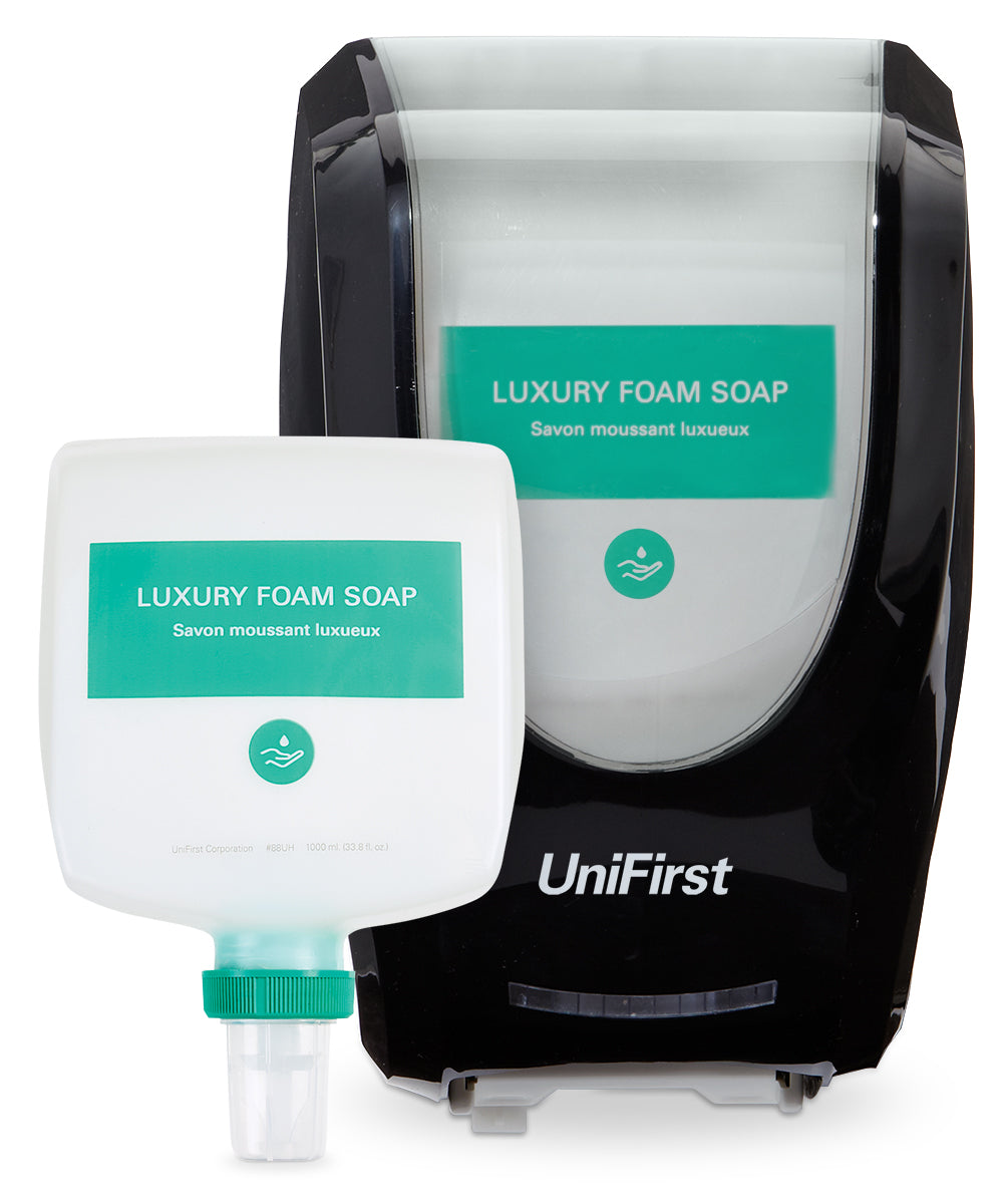 UniFirst Luxury Foam Hand Soap (1000 mL) and Neptune Touchless Dispenser in Black as shown in the UniFirst Facility Services Catalog.