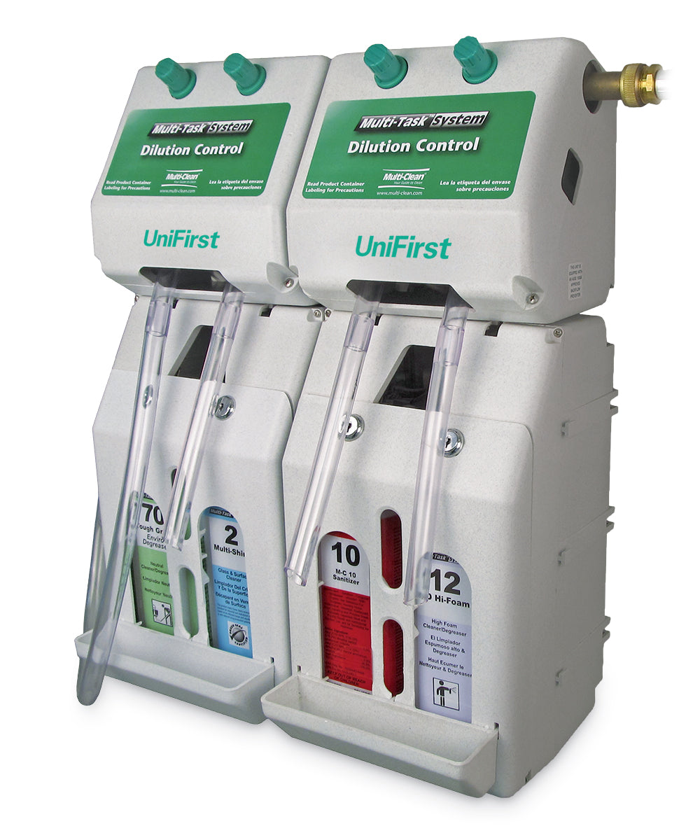 Wall Mounted Cleaning Chemicals Dispensing System as shown in the UniFirst Facility Services catalog.