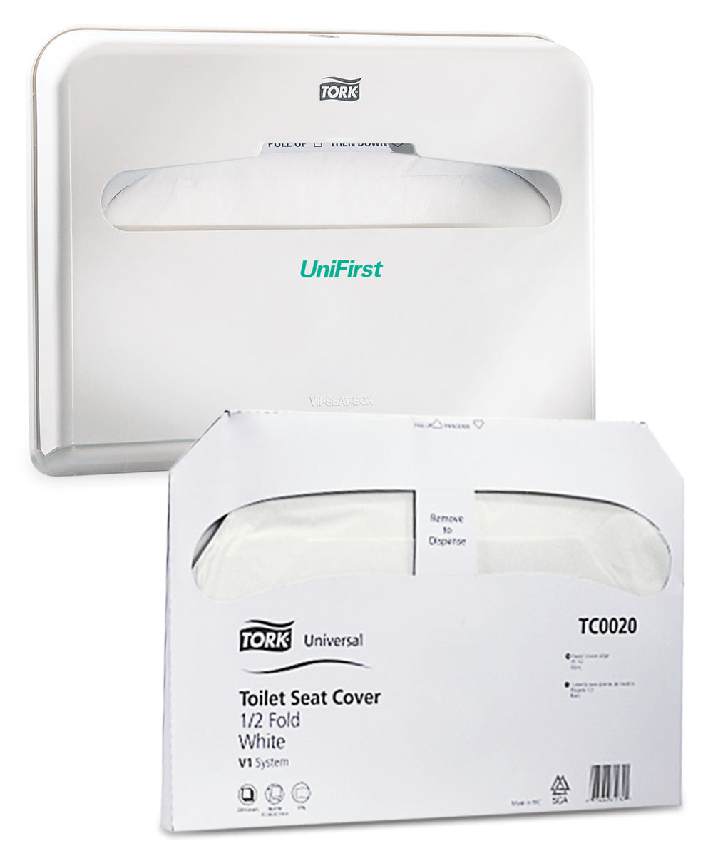 Discreet Seat® Toilet Seat Covers System as shown in the UniFirst Facility Services catalog.