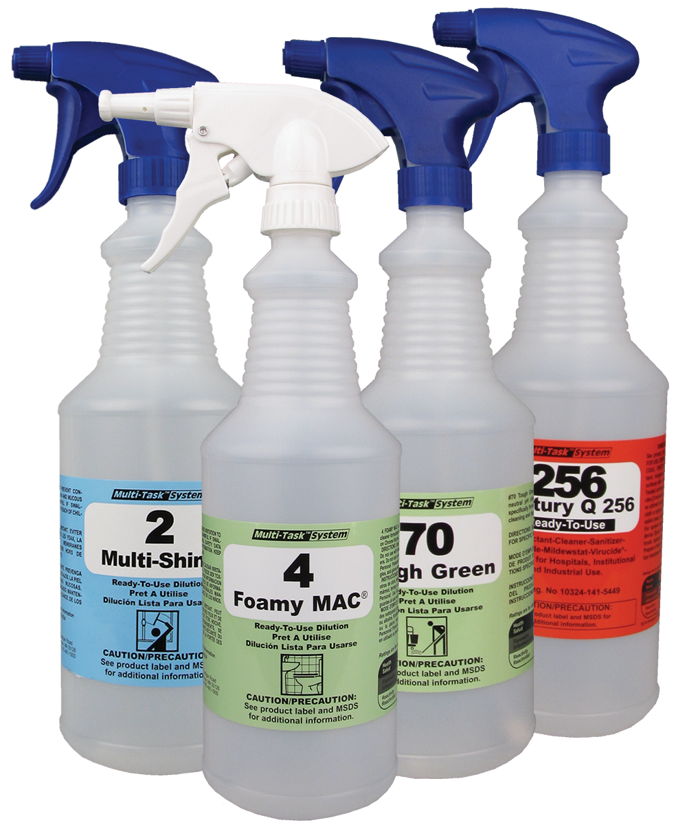 Spray and Foamer Bottles for Cleaning Chemical Solutions Dispensing System as shown in the UniFirst Facility Services catalog.