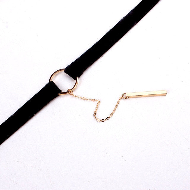 Soft Suede Chain Choker