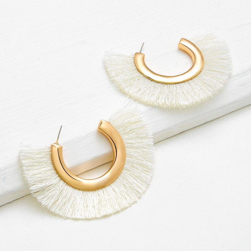 Cream Lagatha Tassel Earrings