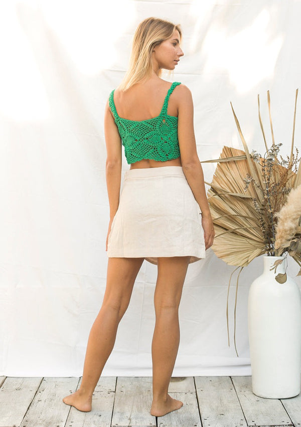 Green Crochet Crop Top