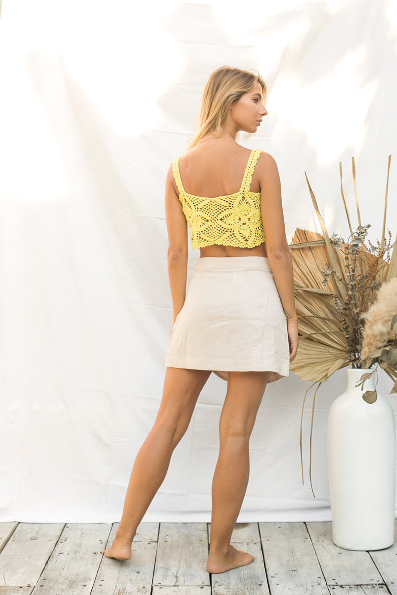 Yellow Crochet Crop Top