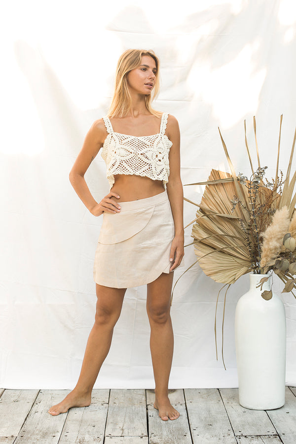 Cream Crochet Crop Top