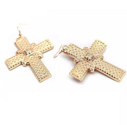 Baroque Statement Cross Earrings