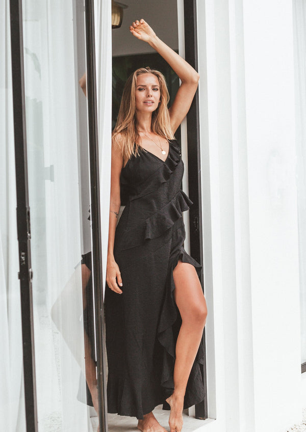 Black Fifi Frill Maxi Dress (PRE ORDER)