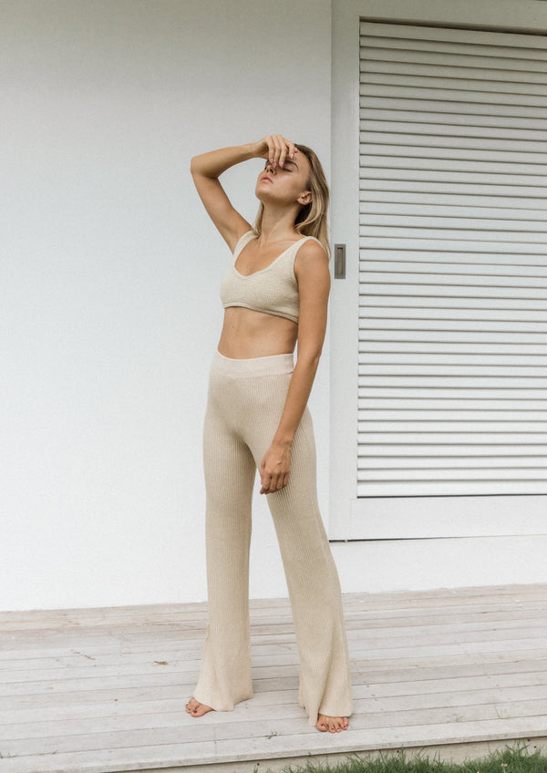 Ribbed Flare Trousers in Sand