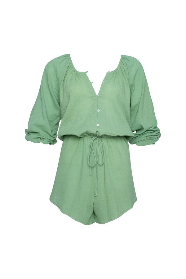 Sage cotton playsuit