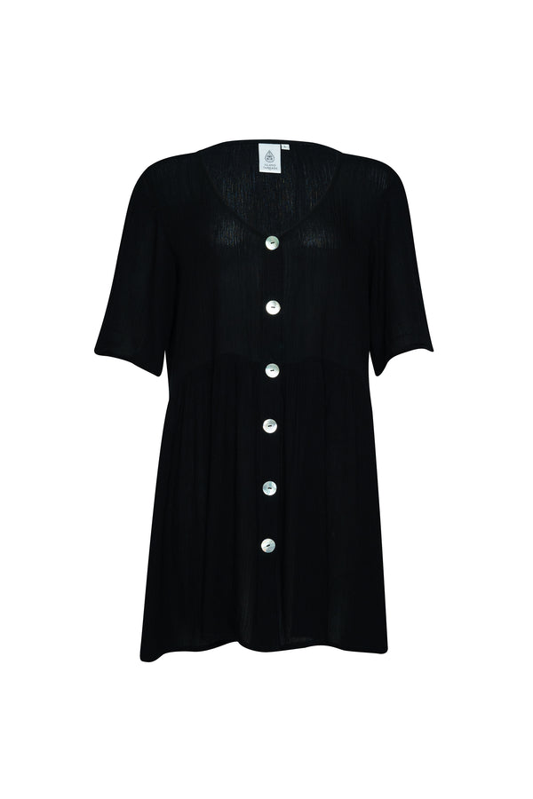 Black Oversized Smock Dress