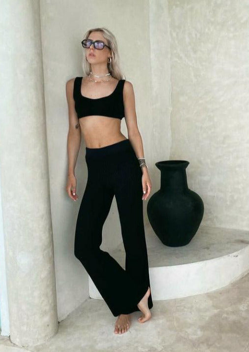 Black Ribbed Flare Trousers