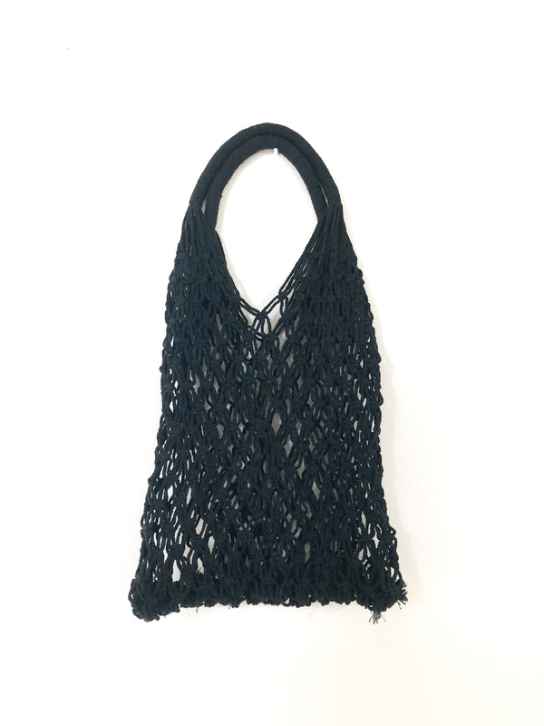 Black Crochet Shopper