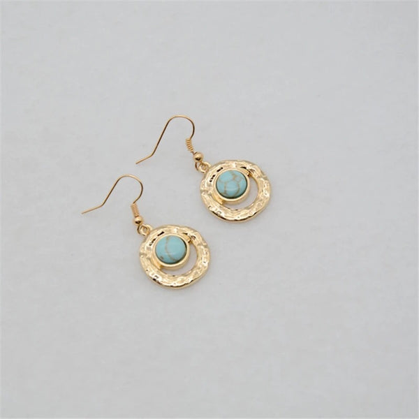 Turquoise Mini Circle Earrings