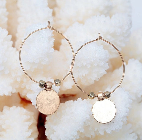 Coral Gold Hoop earrings