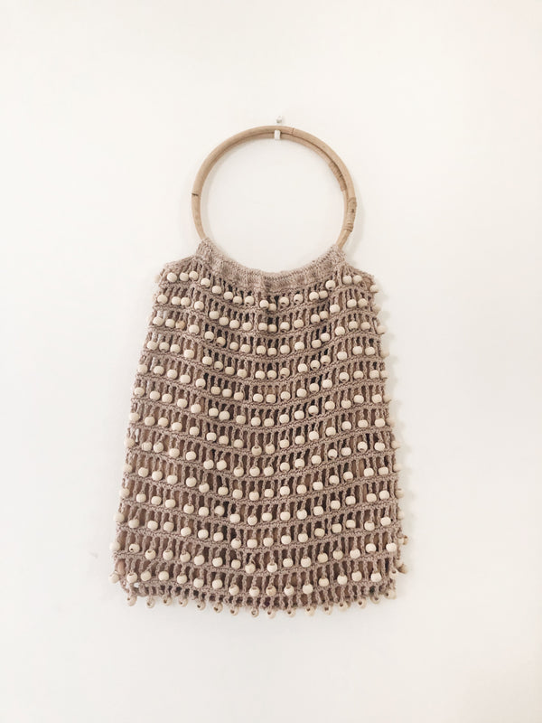 Lilac Balian Beaded & Bamboo Crochet Bag