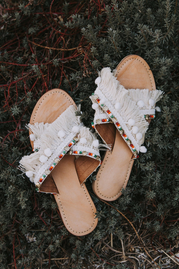 Pom Pom Leather Sandals