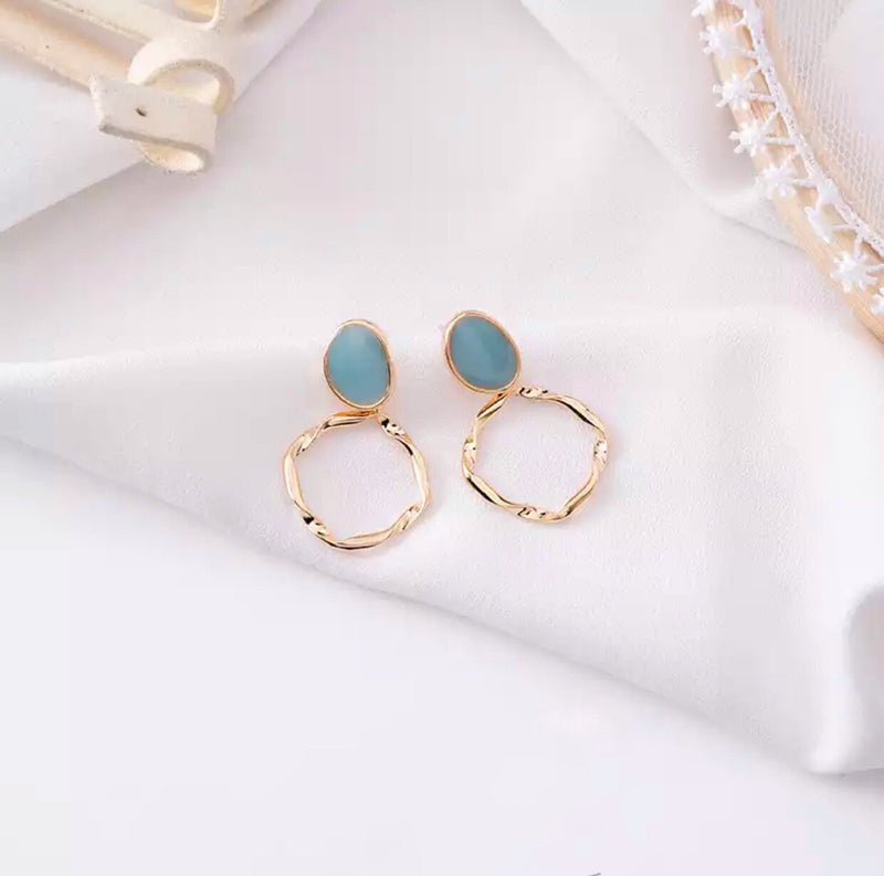 Green Irregular Hoop Earrings