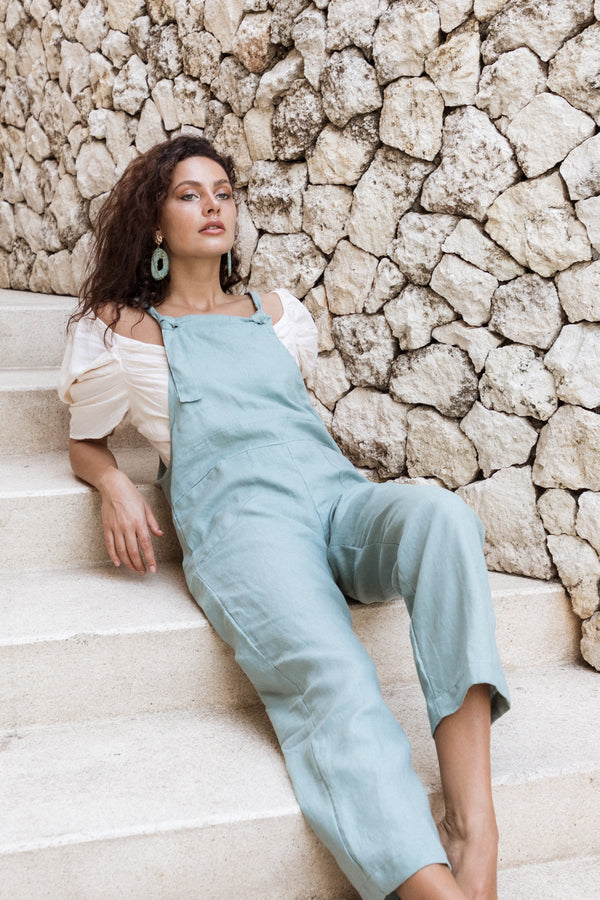 Teal Linen Dungarees