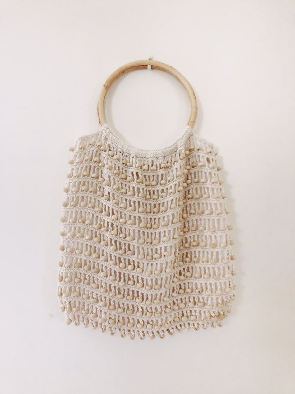 Cream Balian Beaded & Bamboo Crochet Bag
