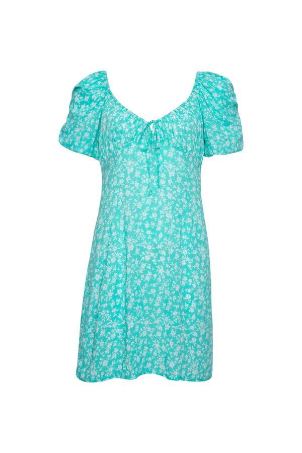 Turquoise Ditsy Floral Mini Dress