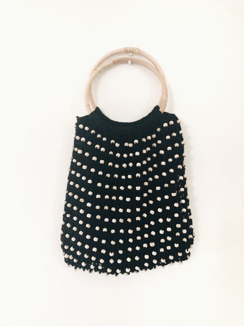 Black Balian Beaded & Bamboo Crochet Bag