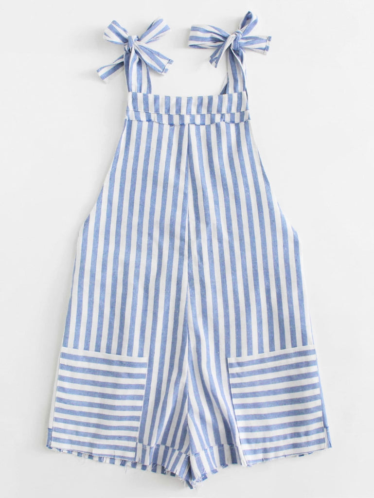 Penelope Pinafore Striped Romper