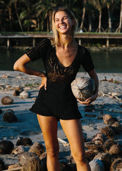 Black Crochet Romper