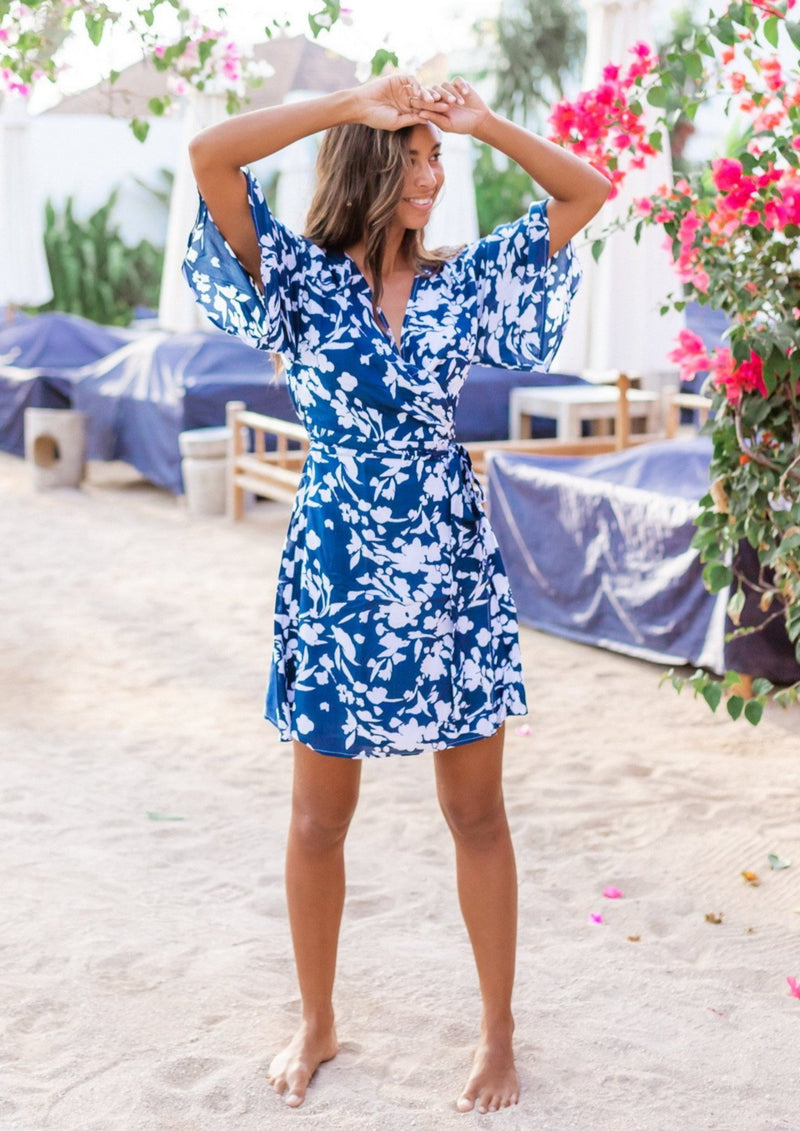 Nara Navy Wrap Dress