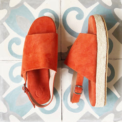 Suede Platform Slider Sample