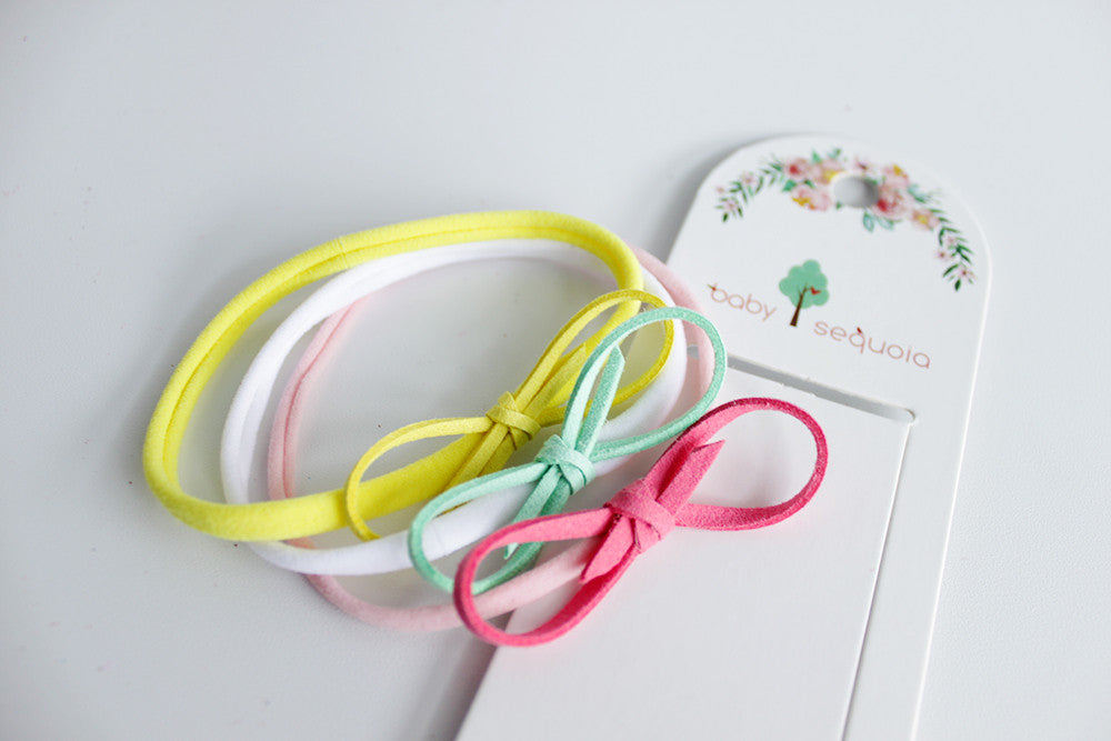 Baby Sequoia Candy Bow set of 3 headband