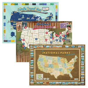 Best-Seller Poster 3 Pack: National Park, Ballpark, and Family Travel Quest Poster