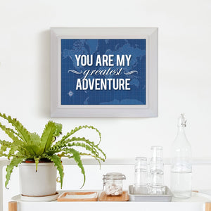 "Blueprint Map Framed Print ""You Are My Greatest Adventure"""