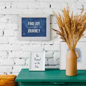 "Blueprint Map Framed Print ""Find Joy in the Journey"""