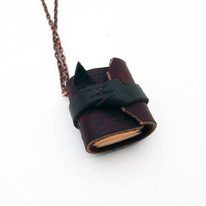 Handmade Tiny Leather Traveler Journal Necklace
