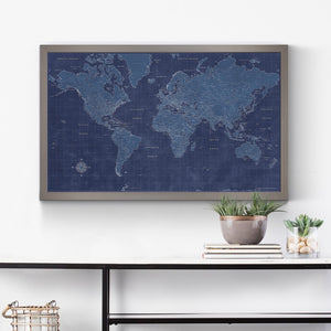 Modern Blueprint World Travel Map
