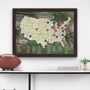 Framed Football Travel Quest Map