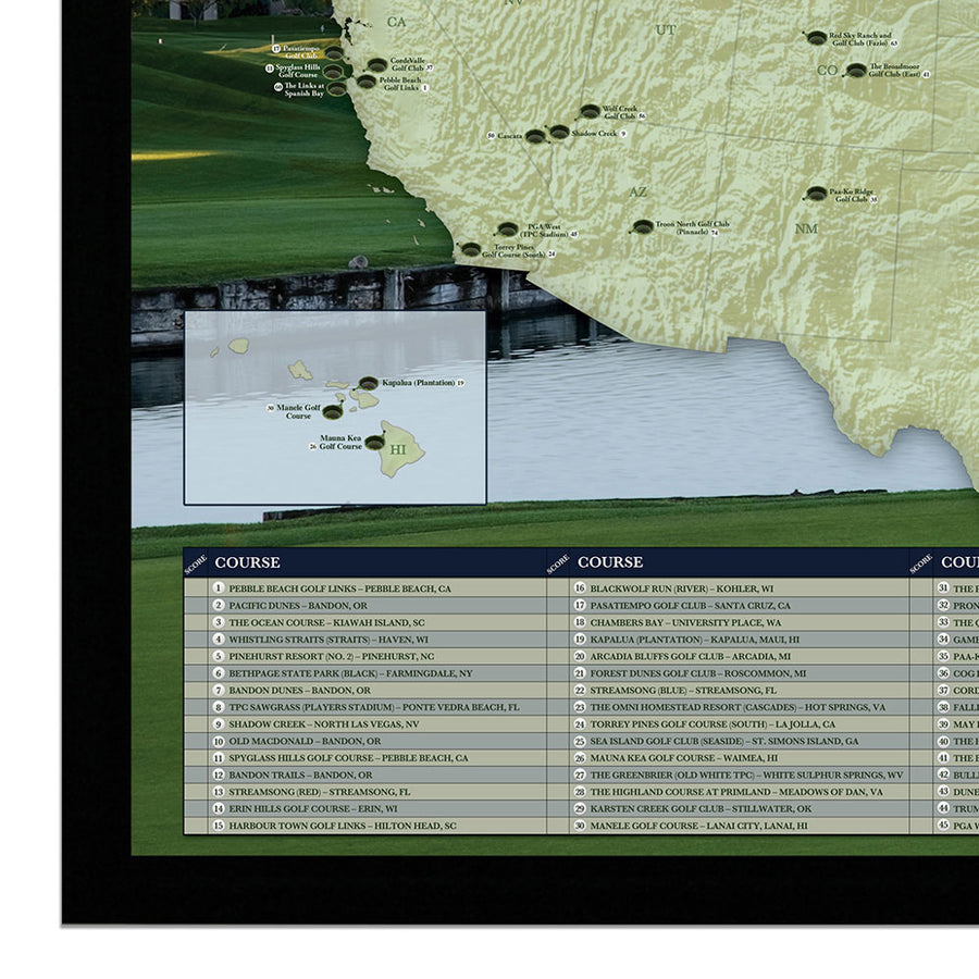 Premier Golf Courses of the United States Map