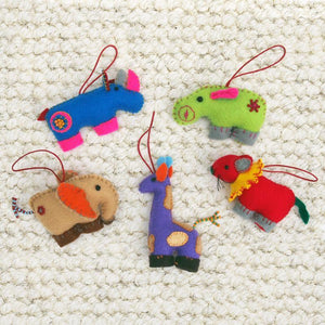 Hand-sewn Safari Animal Ornament
