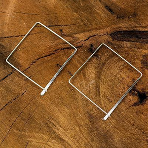 Minimalist Square Traveler Sterling Silver Earrings