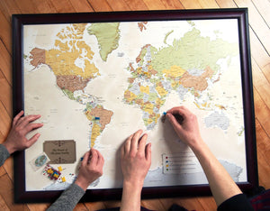 Map Your Travels Push Pin World Travel Map Framed
