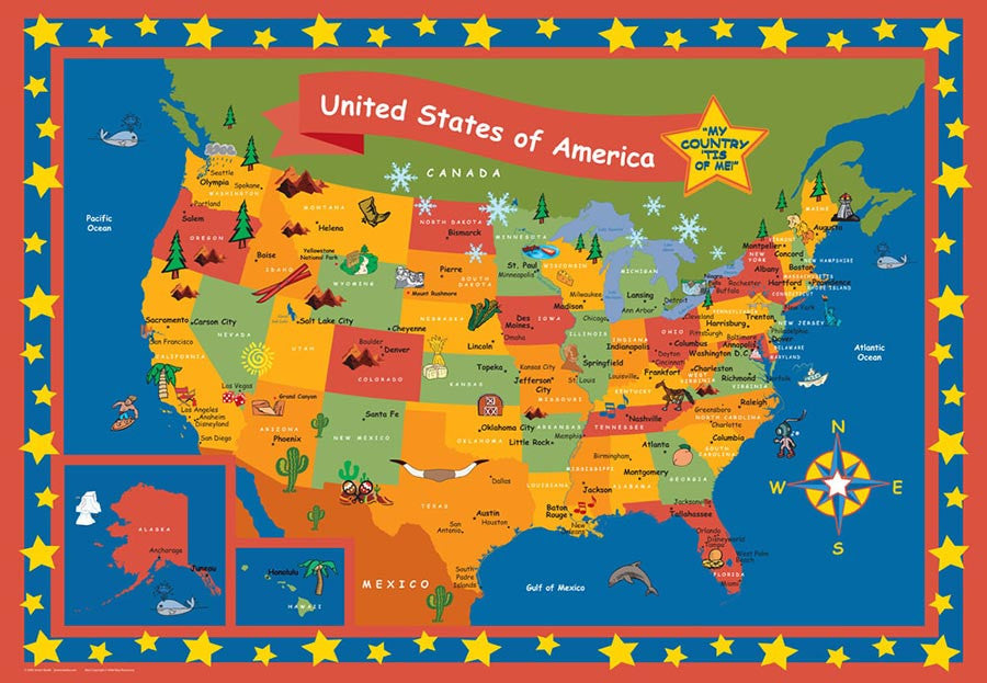 Childrens map poster set mapyourtravels childrens map poster set gumiabroncs Gallery