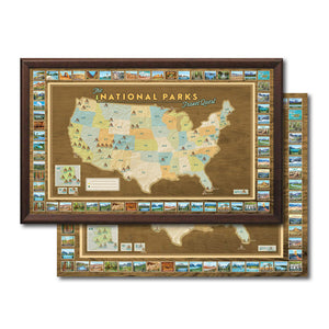 National Parks Travel Map + Poster Bundle