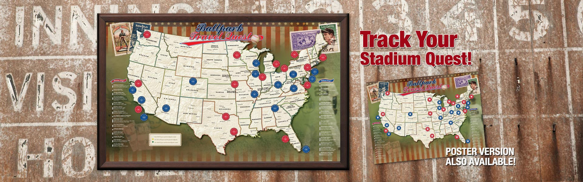 Track Your Stadium Quest with the Map Your Travels Ballpark Travel Quest Map