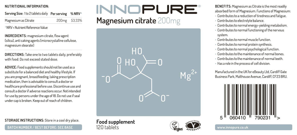 Magnesium as Citrate, High Strength 200mg