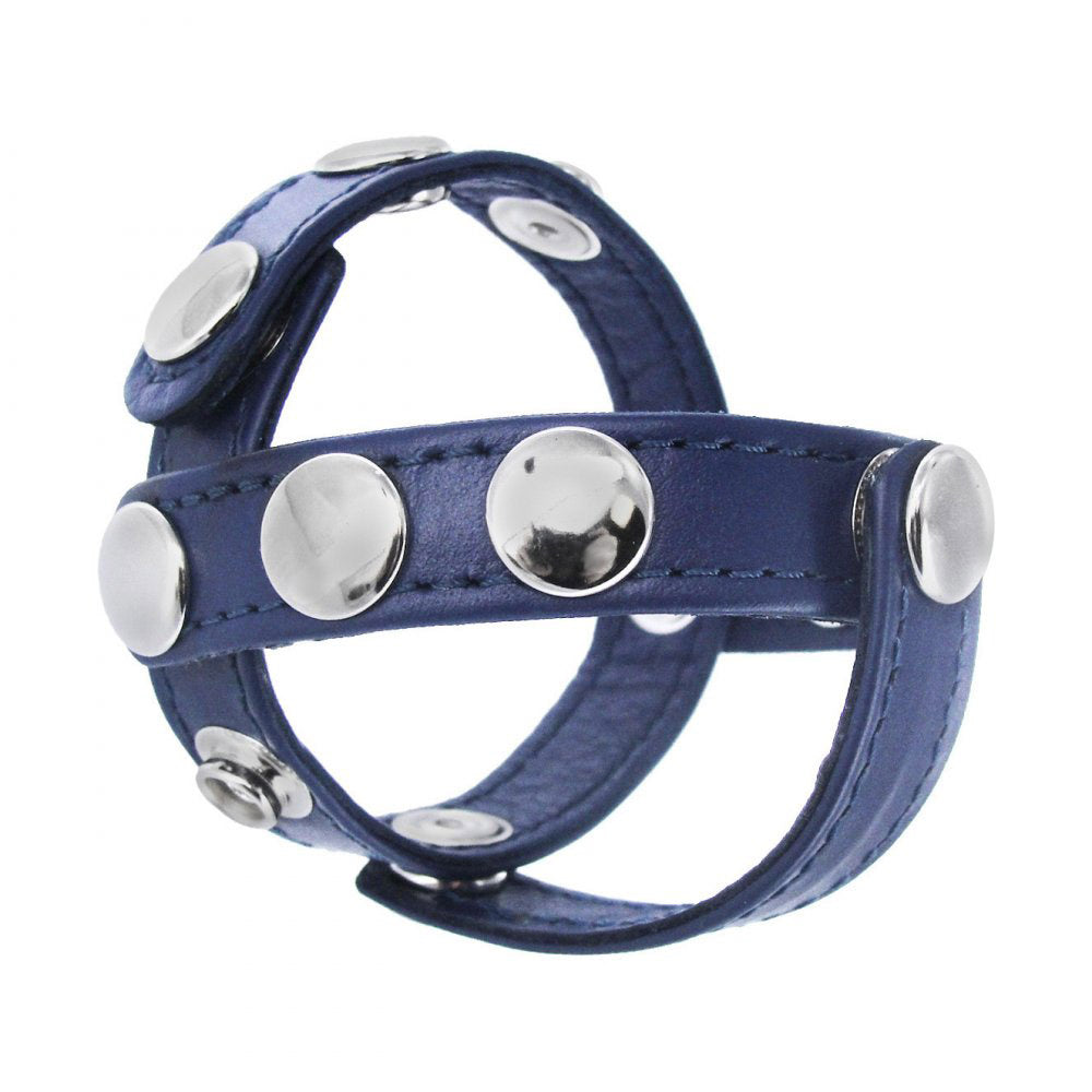 Blue Leather Cock and Ball Harness