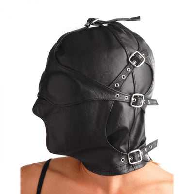 Asylum Leather Hood with Removable Blindfold and Muzzle