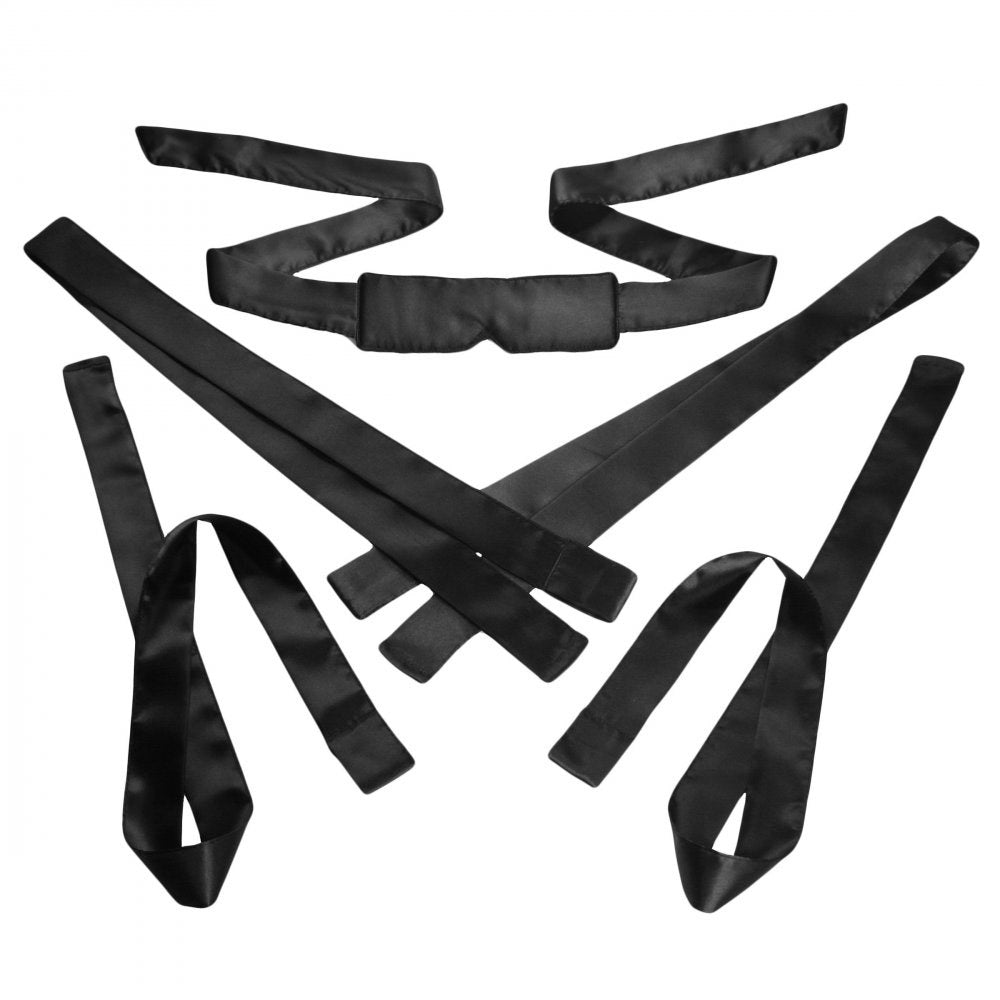Bordeaux 5 Piece Satin Bondage Set - Black